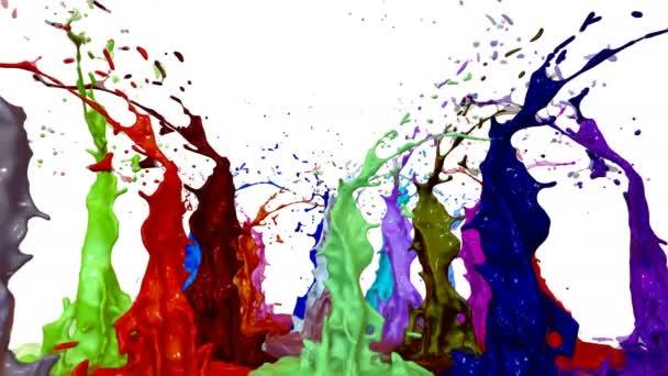 csobbanás folyékony festék a zene hangszóró. 3D animáció 4k-ban. 14