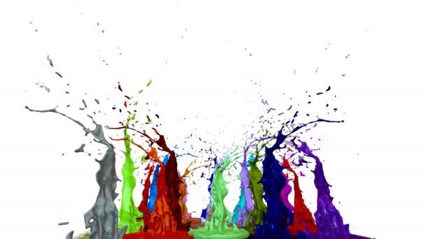 Splash of liquid paint on music speaker  3d animation in 4k  17
