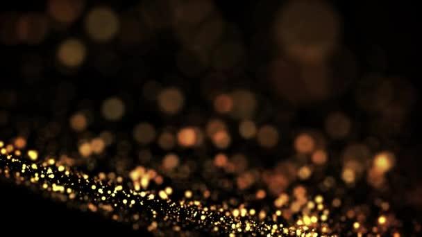 zlaté částice v tekutém plováku a glisten. Pozadí se lesklými zlatými částicemi hloubky pole a bokeh. Luma, aby se vysekly zářivé částice pro Prázdninové prezentace. 4k 3D animace. 59