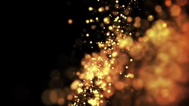zlaté částice v tekutém plováku a glisten. Pozadí se lesklými zlatými částicemi hloubky pole a bokeh. Luma, aby se vysekly zářivé částice pro Prázdninové prezentace. 4k 3D animace. 74