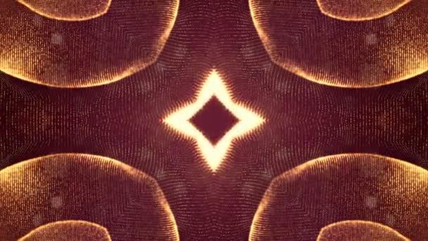 Sci-Fi zlaté pozadí světélkujících částic, které tvoří křivky, povrchy, složité struktury, časové proměnlivou vlnu s hloubkou terénních a bokeh světelných efektů. moderní animovaná grafika. 20