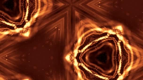 Sci-Fi zlaté pozadí světélkujících částic, které tvoří křivky, povrchy, složité struktury, časové proměnlivou vlnu s hloubkou terénních a bokeh světelných efektů. moderní animovaná grafika. 40