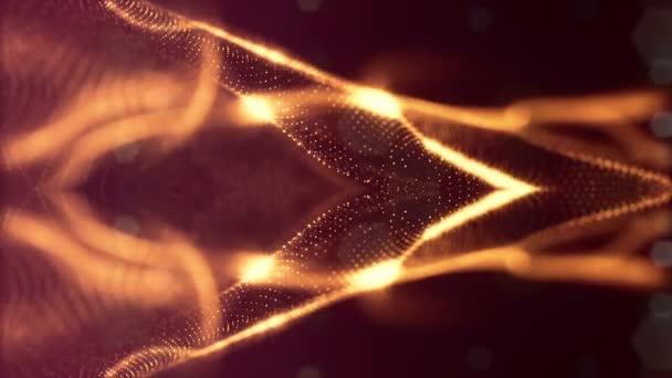 Sci-Fi-Goldhintergrund aus leuchtenden Teilchen, die Kurven, Oberflächen, komplexe Strukturen, zeitvariierende Wellen mit Schärfentiefe und Bokeh-Lichteffekte bilden. geloopte Animation moderne Motion Graphics. 51