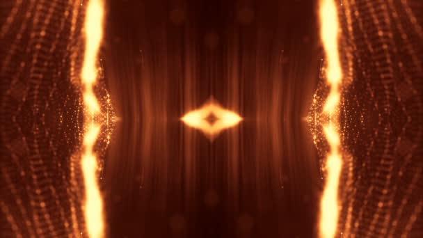 Sci-Fi zlaté pozadí světélkujících částic, které tvoří křivky, povrchy, složité struktury, časové proměnlivou vlnu s hloubkou terénních a bokeh světelných efektů. moderní animovaná grafika. 63