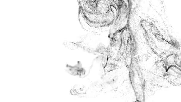 le particelle luminose volano in liquido, effetto inchiostro 3d di advection. Le particelle di bagliore si muovono in un flusso di liquido al rallentatore in 4k. Usate luma mascherino come canale alfa per tagliare le particelle dallo sfondo. Nero 6