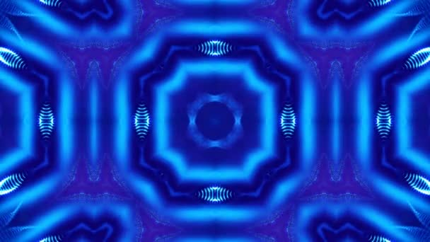 Mikrosvět, mandaly nebo dekorativní neonové abstraktní pozadí. Komplexní symetrické modré složení s žhavými částicemi, které tvoří vlnité struktury jako v kaleidoskopu. 4k 3D smyčka plynulá animace. 17