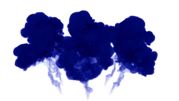 3d render of blue ink injection dissolves and spread in water on white background with luma matte as alpha channel for visual effects and easy compositing. 18 circular structure