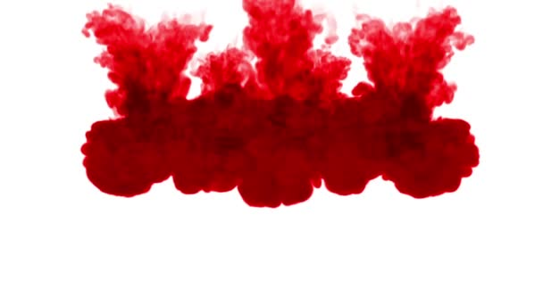 3d render of red ink injection dissolves and spread in water on white background with luma matte as alpha channel for visual effects and easy compositing. 8 circular structure