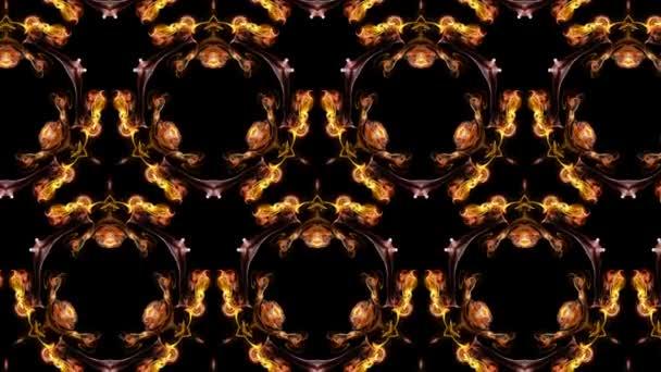 Abstraktní částice. 4 k světélkující částice se pohybují v průtokové formě kaledoskopických struktur. Efekt rukopisu se hrudním matním kanálem jako alfa kanál. Červený oranžový 1