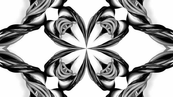 4k animační smyčka s černými a bílými stužkami je zkroucená a tvoří složité struktury, jako jsou symetrické ozdoby nebo kaleidoskopické efekty. Bezešvé záběry s hrudním matním kanálem jako alfa kanál. 29