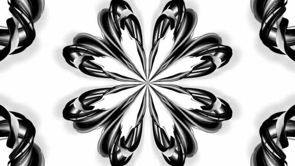 4k animační smyčka s černými a bílými stužkami je zkroucená a tvoří složité struktury, jako jsou symetrické ozdoby nebo kaleidoskopické efekty. Bezešvé záběry s hrudním matním kanálem jako alfa kanál. 48