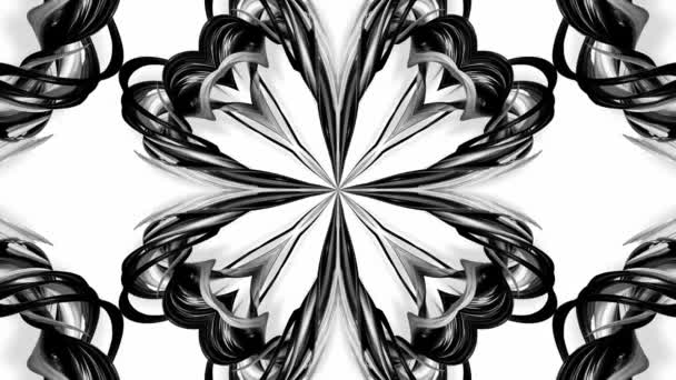 4k loop animation with black and white ribbons are twisted and form complex structures like symmetric ornament pattern or kaleidoscopic effect. Seamless footage with luma matte as alpha channel. 81