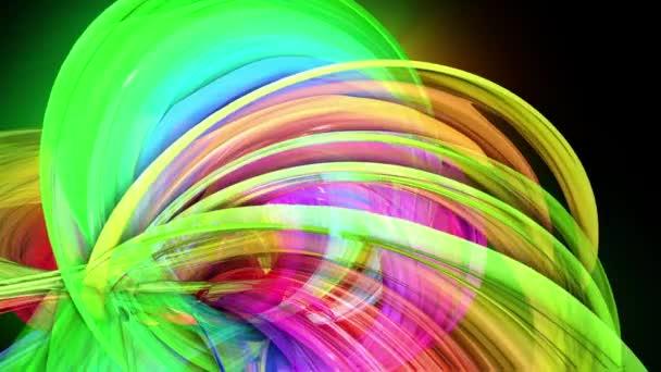 transparente farbige Linien mit neonfarbenem Schein auf schwarzem Hintergrund. Motion Graphics 3D-Looping-Hintergrund mit bunten Regenbogenbändern. schöne nahtlose Hintergrund im Motion-Design-Stil 22