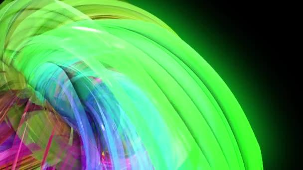 průhledné barevné čáry s neonové záře na černém pozadí. Grafika pohybu 3D smyčka pozadí s vícebarvým duhovými pásy. Nádherný plynulý podklad ve stylu návrhu 23