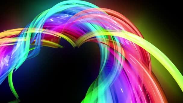 průhledné barevné čáry s neonové záře na černém pozadí. Grafika pohybu 3D smyčka pozadí s vícebarvým duhovými pásy. Nádherné hladké pozadí ve stylu pohyblivého designu 12