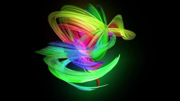 průhledné barevné čáry s neonové záře na černém pozadí. Grafika pohybu 3D smyčka pozadí s vícebarvým duhovými pásy. Nádherné bezešvé pozadí v pohyblivém designu 30