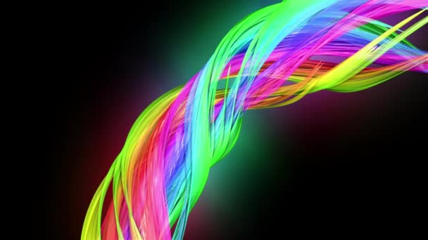transparent colored lines with a neon glow on a black background. Motion graphics 3d looped background with multicolor colorful rainbow ribbons. Beautiful seamless background in motion design style 35