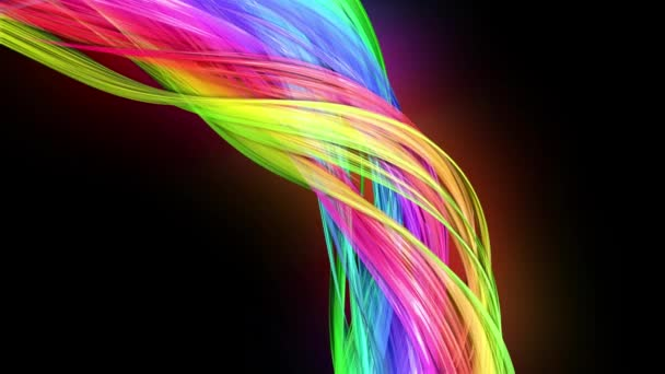 transparent colored lines with a neon glow on a black background. Motion graphics 3d looped background with multicolor colorful rainbow ribbons. Beautiful seamless background in motion design style 37