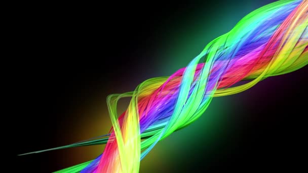 průhledné barevné čáry s neonové záře na černém pozadí. Grafika pohybu 3D smyčka pozadí s vícebarvým duhovými pásy. Nádherné bezešvé pozadí v pohyblivém designu 36