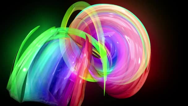 transparent colored lines with a neon glow on a black background. Motion graphics 3d looped background with multicolor colorful rainbow ribbons. Beautiful seamless background in motion design style 43