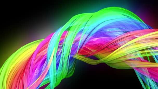 průhledné barevné čáry s neonové záře na černém pozadí. Grafika pohybu 3D smyčka pozadí s vícebarvým duhovými pásy. Nádherné bezešvé pozadí v pohyblivém designu 53
