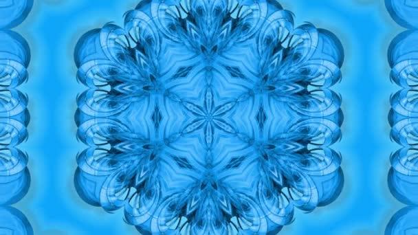 Absztrakt hópihe mozgásban a kék vonalak szalagok kék alapon. Kaleidoszkópos hatás. Téli üveg jégkompozíció. 4k varrat nélküli keretek matt fényerő, mint alfa csatorna.