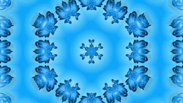 Absztrakt hópehely mozgásban a kék vonalak a szalagok a kék háttér. Kaleidoszkópos hatás. Téli üveg jég összetétele. 4k varrat nélküli keretek Matt fényerővel, alfa csatornaként. 3