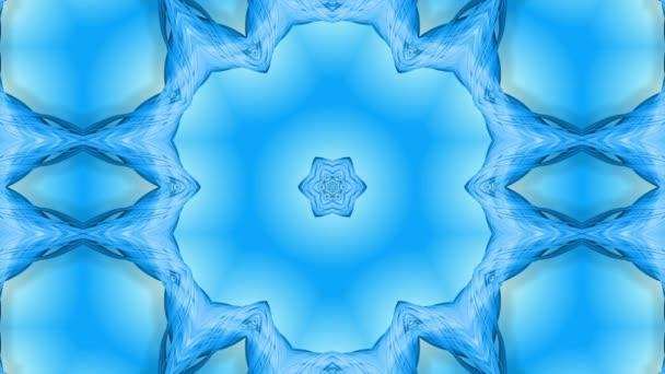 Absztrakt hópehely mozgásban a kék vonalak a szalagok a kék háttér. Kaleidoszkópos hatás. Téli üveg jég összetétele. 4k varrat nélküli keretek Matt fényerővel, alfa csatornaként. 10