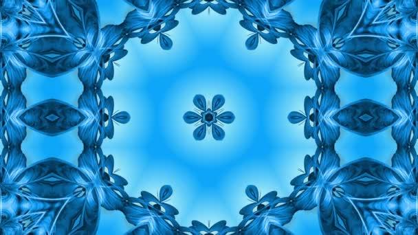 Absztrakt hópehely mozgásban a kék vonalak a szalagok a kék háttér. Kaleidoszkópos hatás. Téli üveg jég összetétele. 4k varrat nélküli keretek Matt fényerővel, alfa csatornaként. 19
