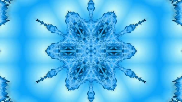 Absztrakt hópehely mozgásban a kék vonalak a szalagok a kék háttér. Kaleidoszkópos hatás. Téli üveg jég összetétele. 4k varrat nélküli keretek Matt fényerővel, alfa csatornaként. 23