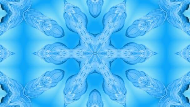 Absztrakt hópehely mozgásban a kék vonalak a szalagok a kék háttér. Kaleidoszkópos hatás. Téli üveg jég összetétele. 4k varrat nélküli keretek Matt fényerővel, alfa csatornaként. 26