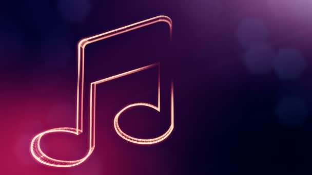 icon of music. Background made of glow particles as vitrtual hologram.. 3D seamless animation with depth of field, bokeh and copy space. Violet v7