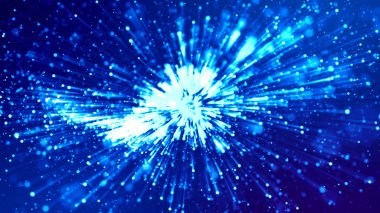 """Картина, постер, плакат, фотообои """"Трехмерная рендеринг синего фона с перчатками, как микро-мировая научная фантастика с глубиной поля и боке. Синий свет - как шоу для яркого праздничного представления"""", артикул 299126750"""