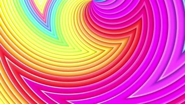 Abstraktní 3D bezešvé jasné duhové barvy pozadí v 4k. Multicolored gradient stripes move cyclically in simple cartoon creative style. Hladká animace smyčky.