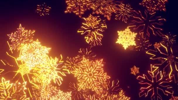 3D zlaté vánoční pozadí s bokeh a hloubka pole lesklé hračky sněhové vločky visí ve vzduchu krásně lesklé pomalu kymácející a zářící ve světle. Krásný 3D pro nový rok ve 4k