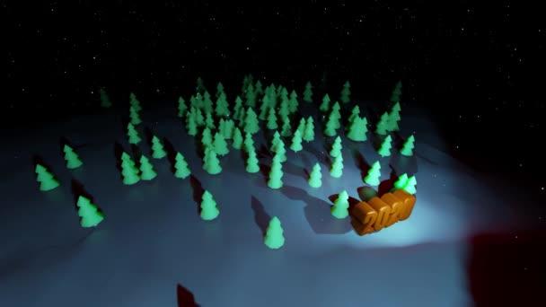 schöner weihnachtlicher Hintergrund für das neue Jahr mit goldenem Text 2020. 3d rendern Hintergrund Nacht Nadelwald in Cartoon-Stil wie Spielzeug. viele Weihnachtsbäume in der Nacht werden hervorgehoben.