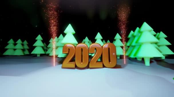 Weihnachtsnacht-Komposition Weihnachtsbaum Wald, in dem große goldene Zahlen 2020 mit einem Feuerwerk in 4k hervorgehoben werden. Cartoon-Stil des neuen Jahres Komposition mit Schneefall 16
