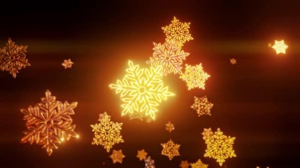 3D zlaté vánoční pozadí s bokeh a hloubka pole lesklé hračky sněhové vločky visí ve vzduchu. Krásný 3D pro nový rok ve 4k