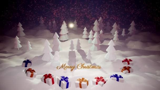 3D magický karikatura Štědrý večer s nádherným lesklým nápisem Veselé Vánoce a vánoční dárky v zimním lese se závějemi sněhu, sněžení, měsíc a krásné ohňostroje v nočním lese.