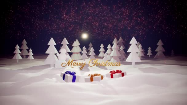 3d magical cartoon of Christmas Eve with magnificent shiny inscription Merry Christmas and christmas gifts in winter forest with snowdrifts, snowfall, moon and beautiful fireworks in night forest.