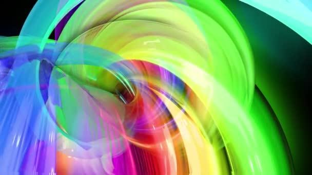 Pohybová grafika 3d smyčka úžasné pozadí s pestrobarevnými duhovými stuhami. Průhledné barevné čáry s neonovou září na černém pozadí.