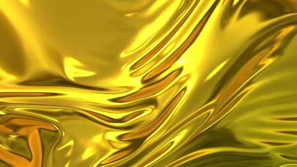 Zlatá hedvábná tkanina je v pomalém pohybu ve vzduchu nádherná. 4k 3D animace vlnité povrchové formy vlnky jako na povrchu tekutiny a záhyby jako v tkáních. Animovaná textura.