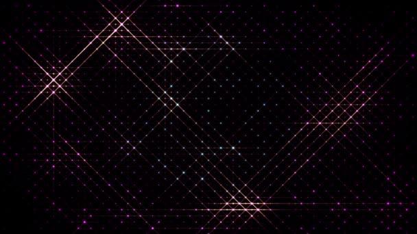 3D abstraktní 4k smyčka pozadí se světlem leds. Jiskry kloužou mezi špičkami, částice pokrývají celou rovinu celého rámu. Flash běží na body. Luma matte jako alfa kanál. Teplé světlo