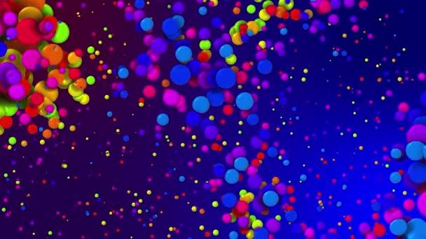 Rajzfilm animáció gyönyörű sokszínű körök, mint a festék buborékok vagy festék cseppek folyadékban. 4k hurkolt absztrakt kreatív háttér. Luma matt, mint alfa csatorna. A részecskék növekednek és csökkennek