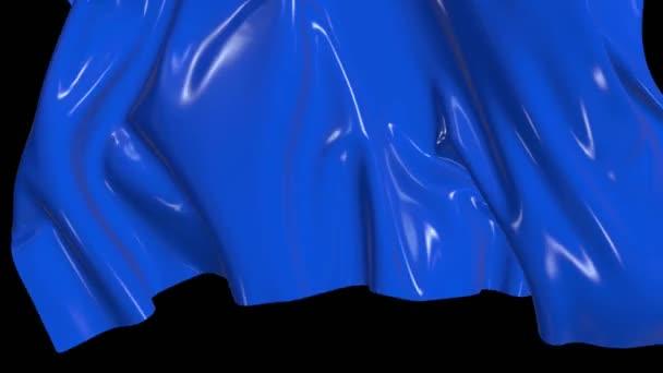 3D provedení odtržení obrazovky modré lesklé tkaniny s luma matné jako alfa kanál pro slavnostní vzhled. Závěsy odletí z obrazovky s krásnými jasnými světly na záhybech v 4k