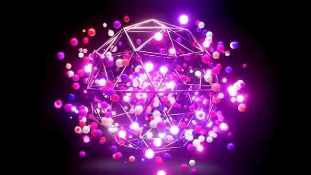 Absztrakt összetétele színes golyók a levegőben, amely véletlenszerűen világít, és tükrözik egymást. Sokszínű gömbök repülnek a levegőben, mint egyszerű geometriai sötét háttér fényhatások.