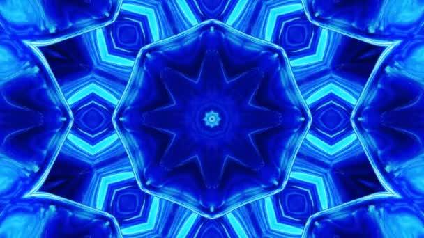 Stylový 3D smyčkový abstraktní bg s vlnitou strukturou. Tekutý modrý symetrický vzor jako kaleidoskop s vlnami brilantního tekutého skla s krásnými barvami gradientu. 4k