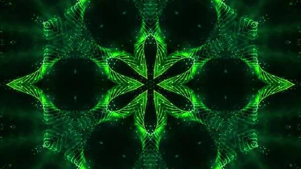 zářící zelené částice tvoří čáry, povrchy, hvězdný vzor, kaleidoskopické struktury. 4k smyčka sci-fi 3d pozadí s Abstrakční symetrické bodové struktury v pohybu. Virtuální nebo holografický bg
