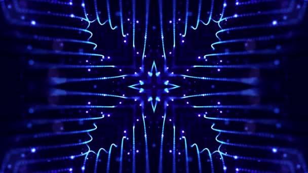 Abstraktes Thema Mikrowelt oder Nanotechnologie. 4k geloopter Sci-Fi 3D-Hintergrund mit Lichteffekten. Leuchtend blaue Teilchen bilden Linien, Oberflächen, komplexe symmetrische Strukturen wie in einem Kaleidoskop.