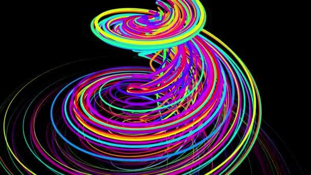 stílusos kreatív absztrakt háttér 4k. színes vonalak örvénylik spirál légy mentén örvénylő utat. Motion design bg részecskék alakító vonalak, spirál és absztrakt struktúrák. 3d renderelés